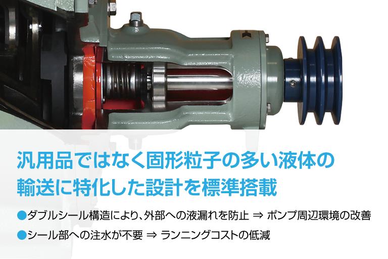 汎用品ではなく固形粒子の多い液体の輸送に特化した設計を標準搭載