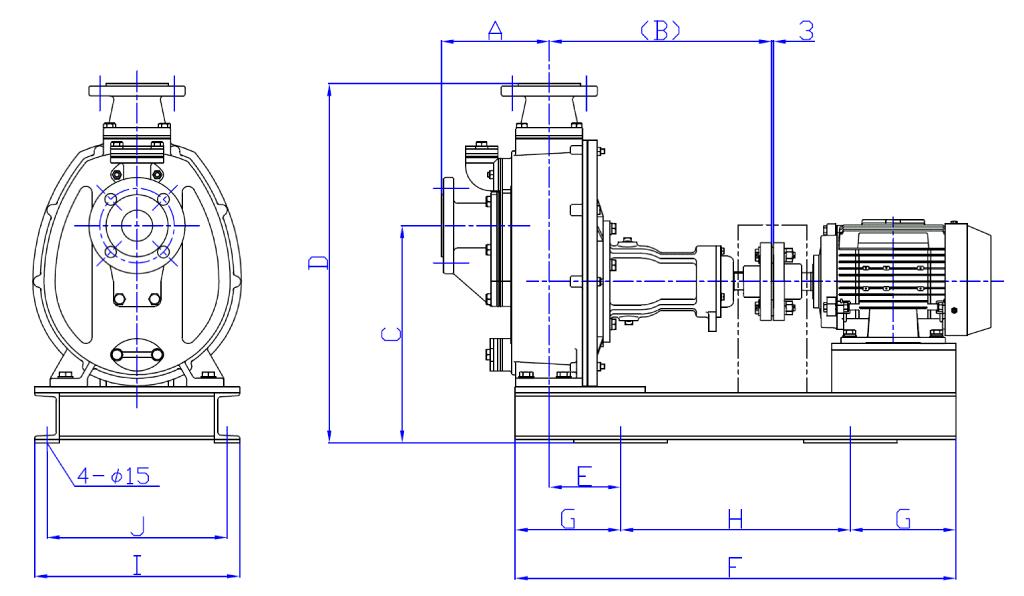 直結型カップリング駆動式外形寸法図