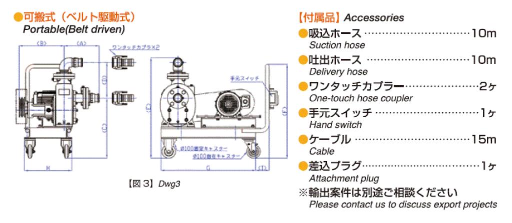 可搬式ベルト駆動式外形寸法図